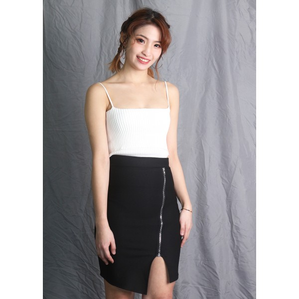 Asymmetric Skirt with Front Zipped