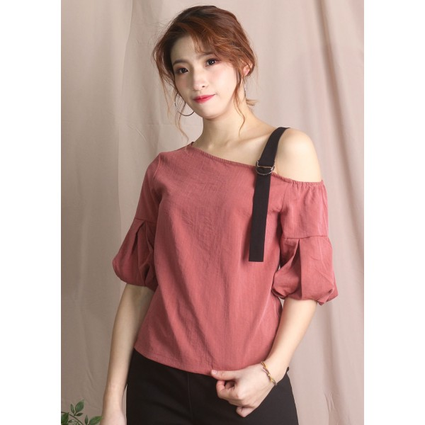 Asymmetrical Shoulder Half Sleeve Blouse