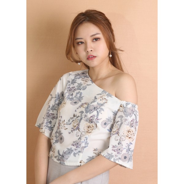 Asymmetrical Shoulder Floral Top