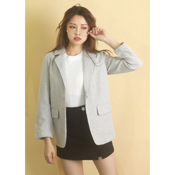 Convertible Collar Lapel Pocket Blazer