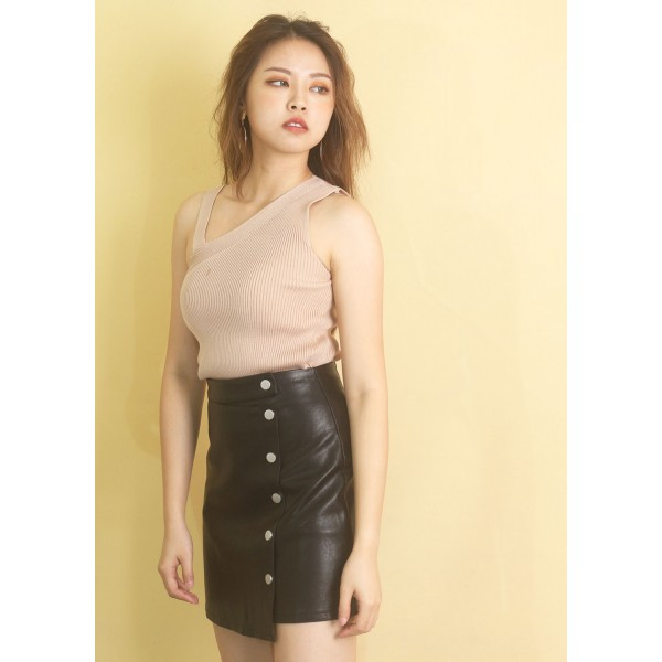 Asymmetric Front Wrap PU Skirt