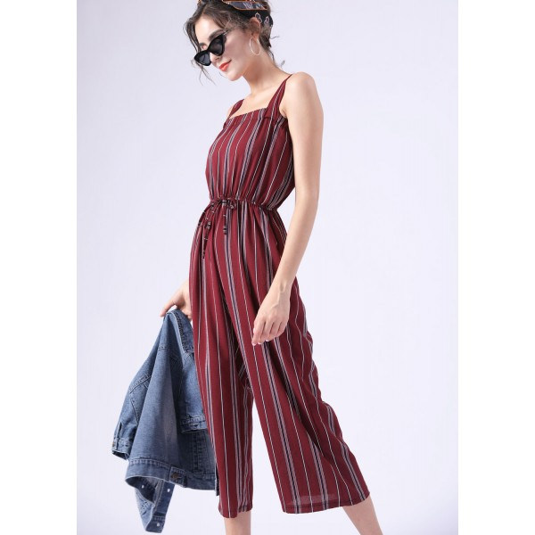 Casual Stripped Wide-Leg Jumpsuit