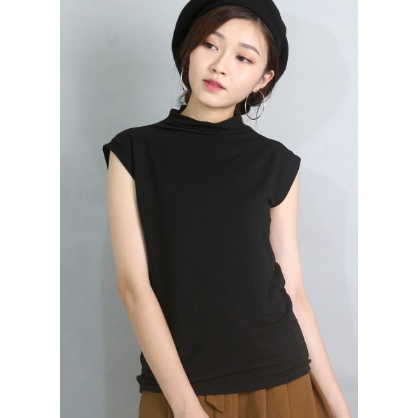 Cap Sleeve Turtle-Neck Top